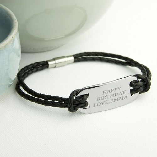 Personalised Statement Leather Bracelet in Black